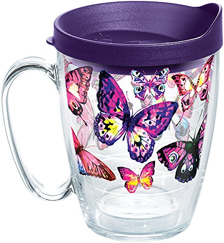 Tervis 1284672 Butterfly Passion Tumbler with Wrap and Royal Purple Lid 16oz Mug, Clear