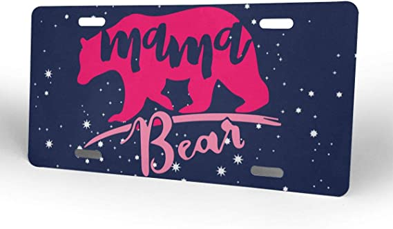 N//O Momma Bear License Plate Personalized Bear Car Tag Decor Auto Tag Novelty Front License Plate Cover for Mom Gift Mirrored Acrylic,High Gloss Aluminum Plate with 2 Holes 12 x 6 Inches