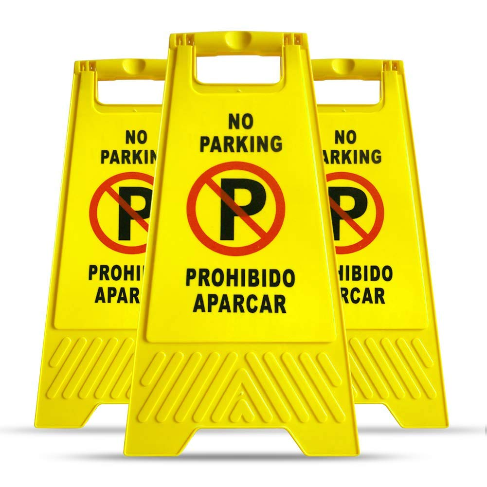 MYSBIKER No Parking Sign, 3 Pack Yellow Sign Stand-Up Floor Signs Readable on Both Sides,with Both English and Spanish