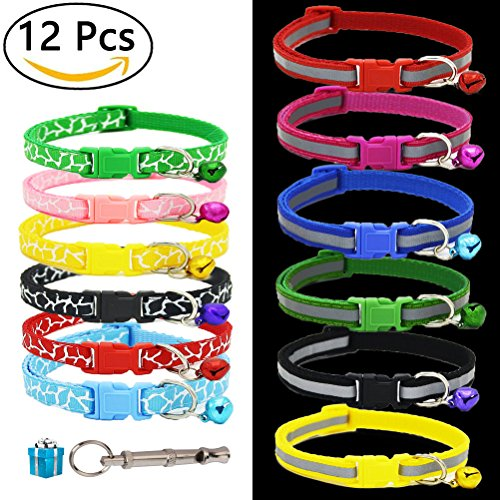 ID Puppy Collar – Super Soft Reflective Whelping Puppy Collars - Adjustable Breakaway Litter Collars Pups – Assorted Colors Reflective Plain & Camouflage Identification Collars – Set of 12 (Pack 12) (Packs Pet Puppy)