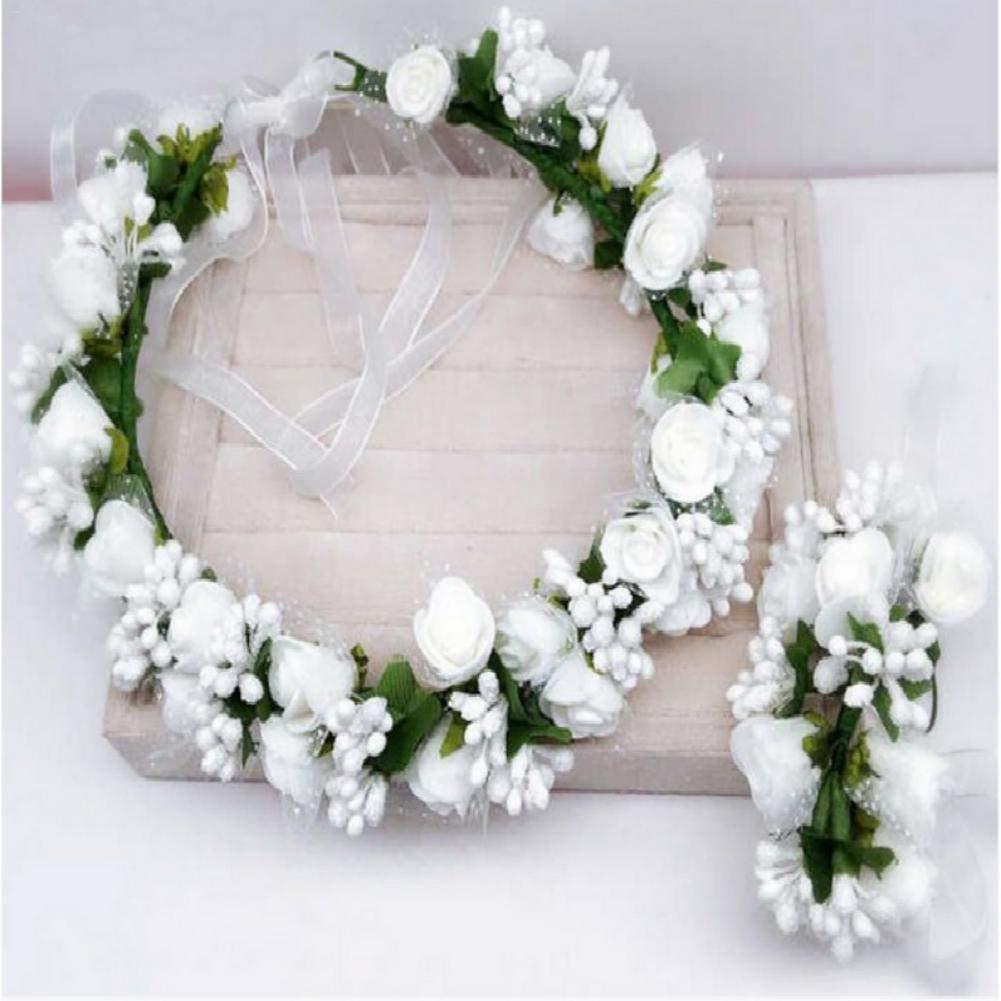 Elegante sposa o Bridemaid ghirlanda floreale copricapo Boemia stili Flower Crown rosa donne ragazze fascia regolabile corona di fiori artificiali per matrimoni festival vacanze di Futurepast