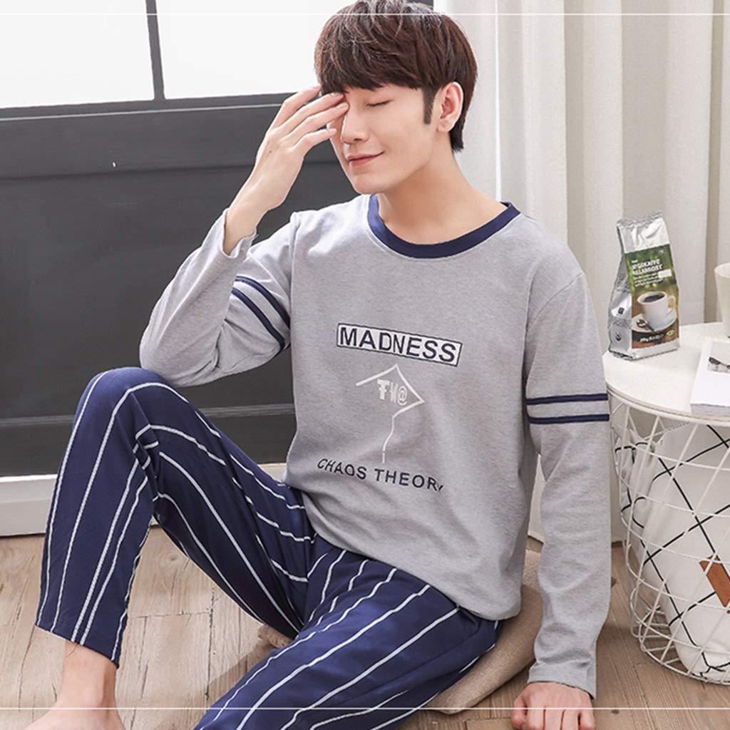 a50d12c04 Pijamas algodón 100% para Hombres jóvenes Vestidos caseros de Manga Larga,  Cuello Redondo, Ropa de Dormir Casual, Conjunto de Dos Piezas, Moda y  Popular ...