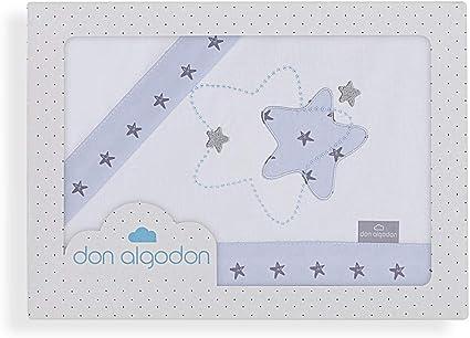 Don Algodón Sábanas Cuna Izar Blanco Azul: Amazon.es: Bebé