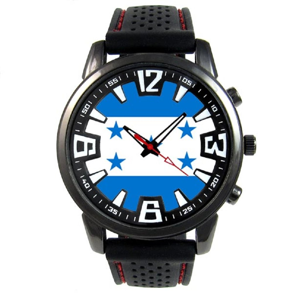 Amazon.com: Timest - Honduras Country Flag - Mens Black Jelly Silicone Wrist Watch Round Analog Quartz SF099: Timest: Watches