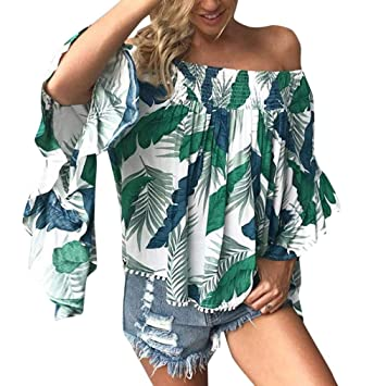 Sonnena femmest-shirt Tops blusa damas sexy Leaves impresión manga larga Slash cuello Shirts Talla