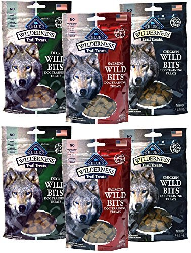 Cheap Blue Buffalo Wilderness Trail Treats Grain-Free Wild Bits Dog Treats – 3 Flavors 2 BAGS EACH FLAVOR (Salmon, Chicken, & Duck) – 4 Ounces Each (6 Total Pouches) – MADE IN USA by Blue
