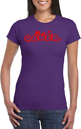 Purple Female Gildan Short Sleeve T-Shirt - Gamer – Red design