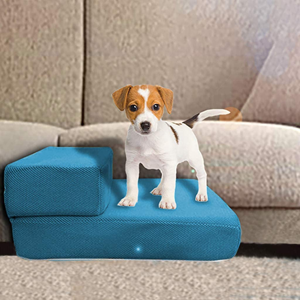 Pet Steps Stairs Washable Cover Dog Cats Stairs Ramp Sofa Bed Couches Ladder for Small Or Older Dog Easy Climb Pet Step Stool Sky Blue Foldable Pet Stairs Detachable Pet 2 Step Ladder