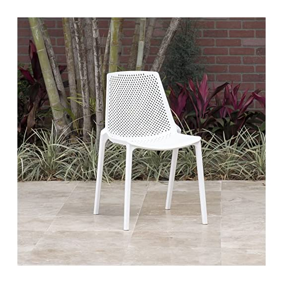 Amazonia Extendable Oval Miami Patio Dining Set, 9 Piece White - Table Dimensions: 71Lx43Wx29H. Extended Length: 93 Chair Dimensions: 22Lx18Wx31H Chair Seating Dimensions: 16L x 16W x 18H Set Includes: 1 Extendable Oval Table and 8 Chairs Table has 2-inch umbrella hole - patio-furniture, dining-sets-patio-funiture, patio - 61dnjHCOp0L. SS570  -