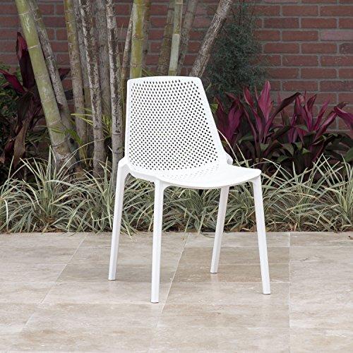 Amazonia Miami Patio Dining Chair, White 4 Pack