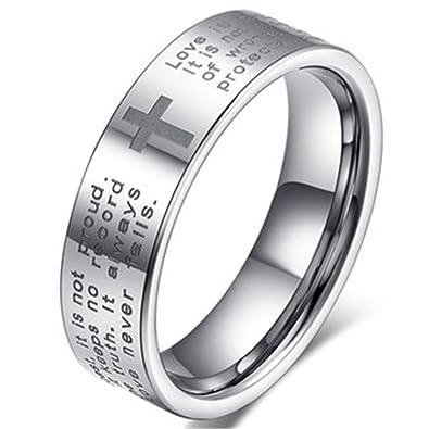 Men Women 6mm Tungsten Carbide White Ring Engraved English Bible