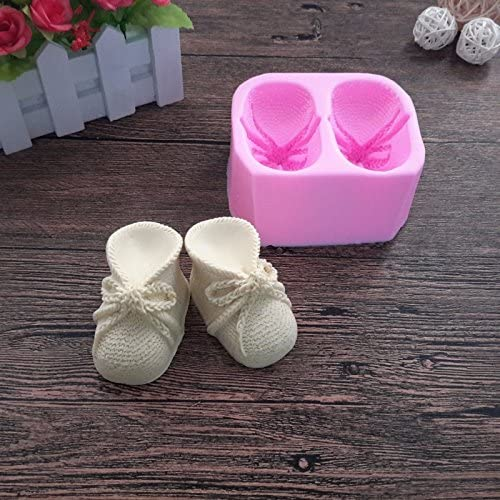 3D Baby Bootie Silicone Fondant Mold Knitted Baby Shoes Cake Decorating Tools DIY Mould Candle Soap Clay Mold