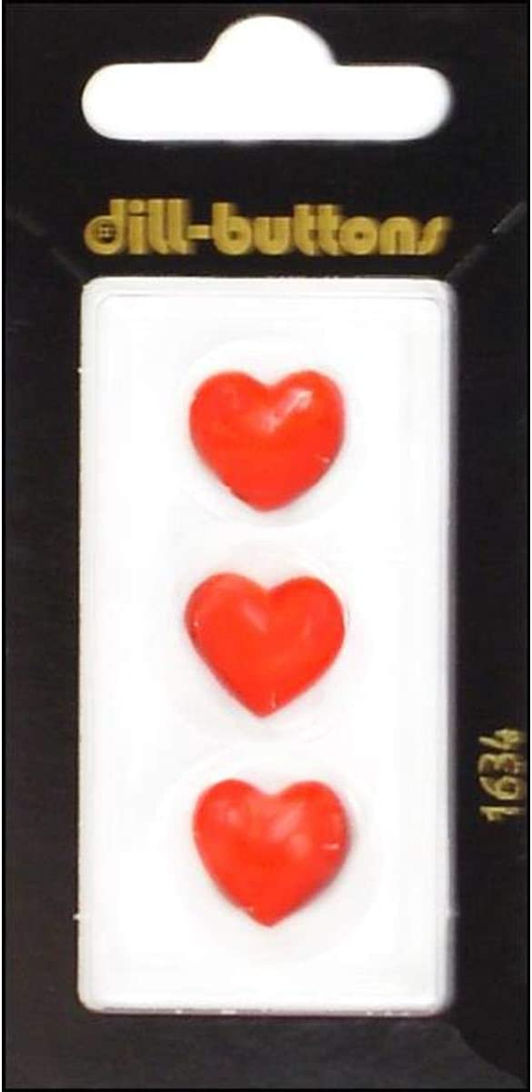 Dill Buttons 14mm 3pc Shank Heart Red