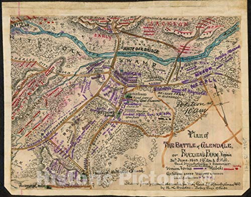 Historic 1862 Map | Plan of The Battle of Glendale or Frazier's Farm. Virginia. 30th June 1862 10 a.m. to 5 p.m. Genl Heintzelman and Sumner Commanding. 30in x 24in