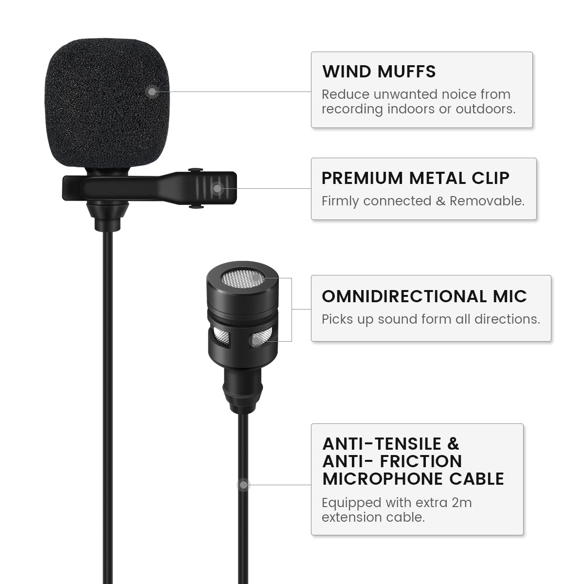 EIVOTOR, Micrófono de Solapa Omnidireccional Micrófono Lavalier de 1,5 m + Línea de Extensión de 2 m con Clip Mini Micrófono de Condensador para Smartphone ...