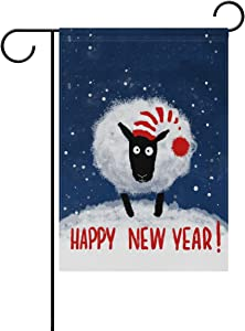alaza Double Sided Happy New Year with Funny Sheep Snowy Winter Polyester Garden Flag Banner 12 x 18 Inch for Outdoor Home Garden Flower Pot Decor