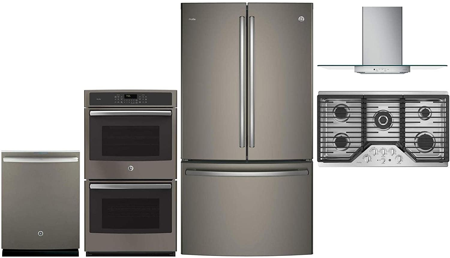 """GE Profile 5 Pcs Kitchen Appliance Package with 36"""" French Door Refrigerator, 36"""" Gas Cooktop, 36"""" Wall Mount Hood, 27"""" Electric Double Wall Oven and 24"""" Built In Fully Integrated Dishwasher in Slate"""