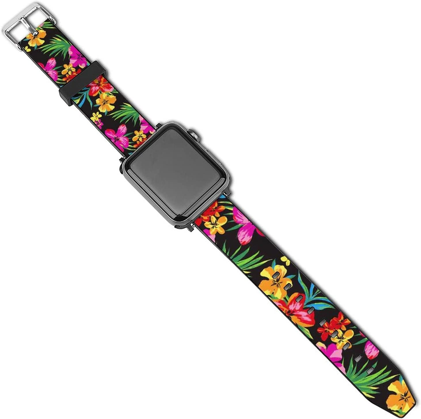 SWEET TANG Mens Women Hawaiian Colorful Flower Apple Watch Band 38mm/40mm, 42mm/44mm, Adjustable Protective Watch Bands Sport Bands, PU Leather Sport Replacement Strap