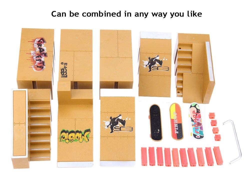 Robolife Professional Skate Park Kit Ramp Parts Fingerboard Skateboard Training Props-8pcs by Robolife (Image #7)