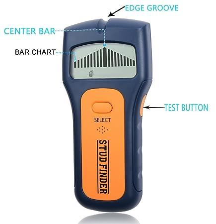 Detector de vigas, pantalla LCD. Escaneo y función múltiple, con diseño ergonómico, escáner de detección de vigas de pared, cables y metales en general: ...