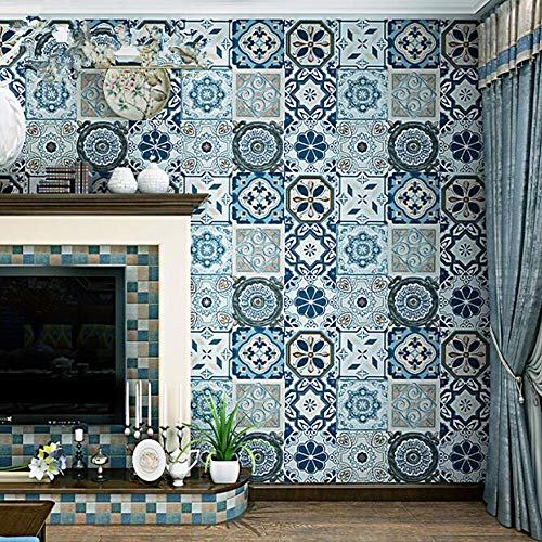 Cucsaistat Wallpaper Mural Blue Romantic Imitation Tile Wallpaper Moroccan Tile Style Mosaic Wallpaper
