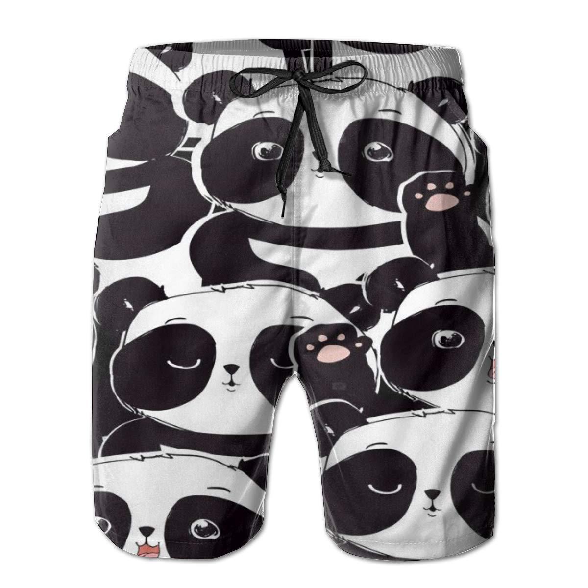 Airealy Men/'s Summer Beach Trunks Cartoon Lovely Panda Bear Drawstring Elastic Waist Quick Drying Surfing Beach Board Shorts