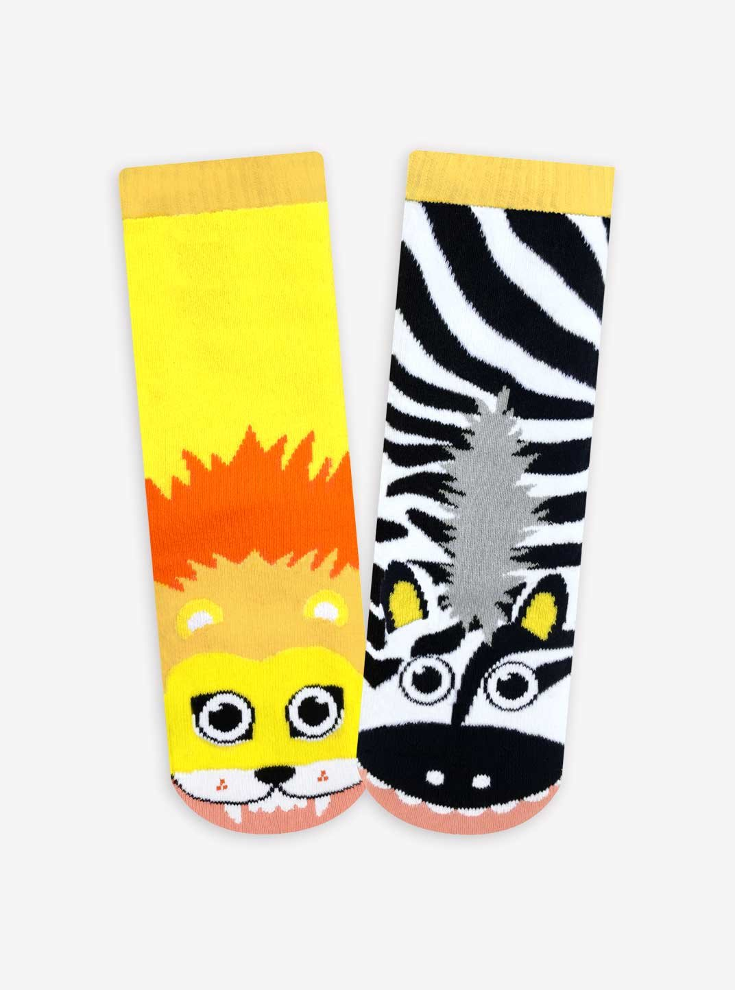 Lion and Zebra, T-Rex and Triceratops, Polar Bear and Penguin - Toddler Sock Set - Mighty Mates Mismatched Friends 3-Pack by Pals Socks (Image #4)