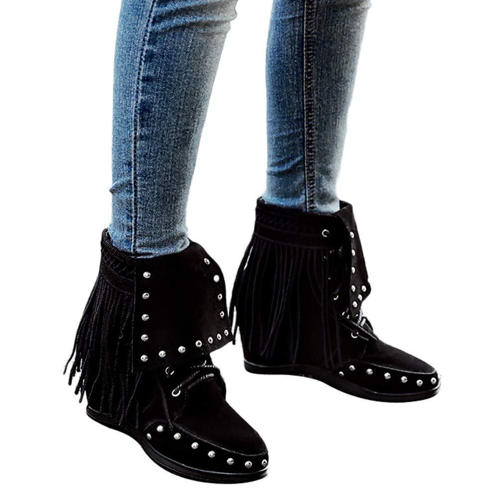 Geili Damen Schn/ürstiefel Kurzschaft Wildleder Quaste Stiefel Frauen /Übergr/ö/ßen High Heels Keilstiefel Boots Drau/ßen Worker Boots Warme Gef/üttert Winterstiefel