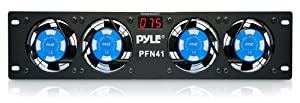 "19"" Rack-Mount Equipment Cooling Fans - 110V/60Hz Power, 4 Cooler Master 80mm Case Fans, Smart Cooling System, Digital LCD Temperature Display & Installation Hardware Screw Included - PylePro PFN41"
