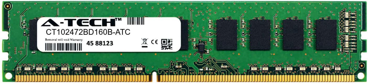 A-Tech 8GB Replacement for Crucial CT102472BD160B - DDR3/DDR3L 1600MHz PC3-12800 ECC Unbuffered UDIMM 2Rx8 1.35V - Single Server Memory RAM Stick (CT102472BD160B-ATC)