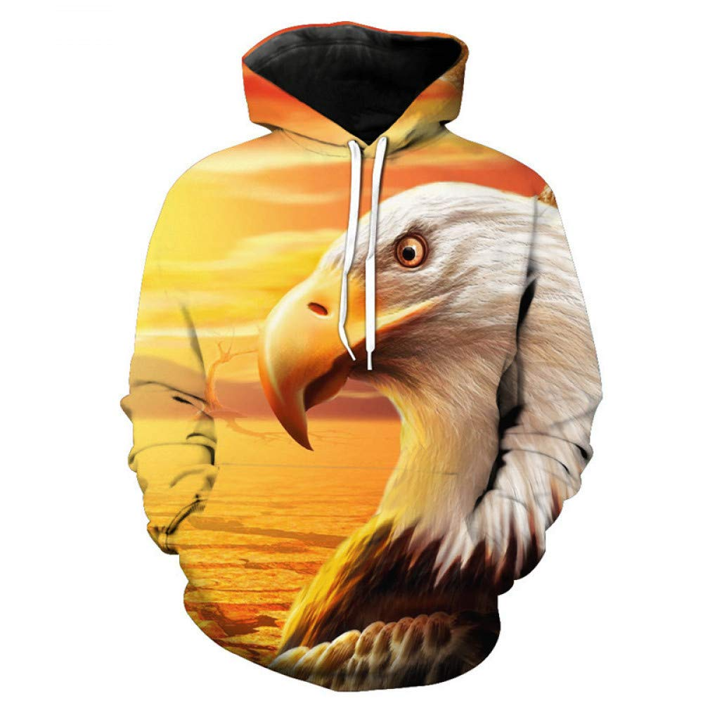 LMWY028 XL 3D Hoody Coat Outwear Blouse Fashion Coat Winter Jacket with hat Eagle Digital Print Hooded Couple