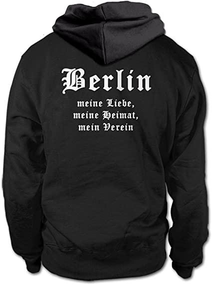 Meine Heimat shirtloge Berlin Mein Verein Gr/ö/ße S Fan Kapuzenpullover 3XL Schwarz