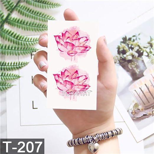 adgkitb 5piezas Flor de Loto Tatuaje Temporal Hoja Colorida Falso ...