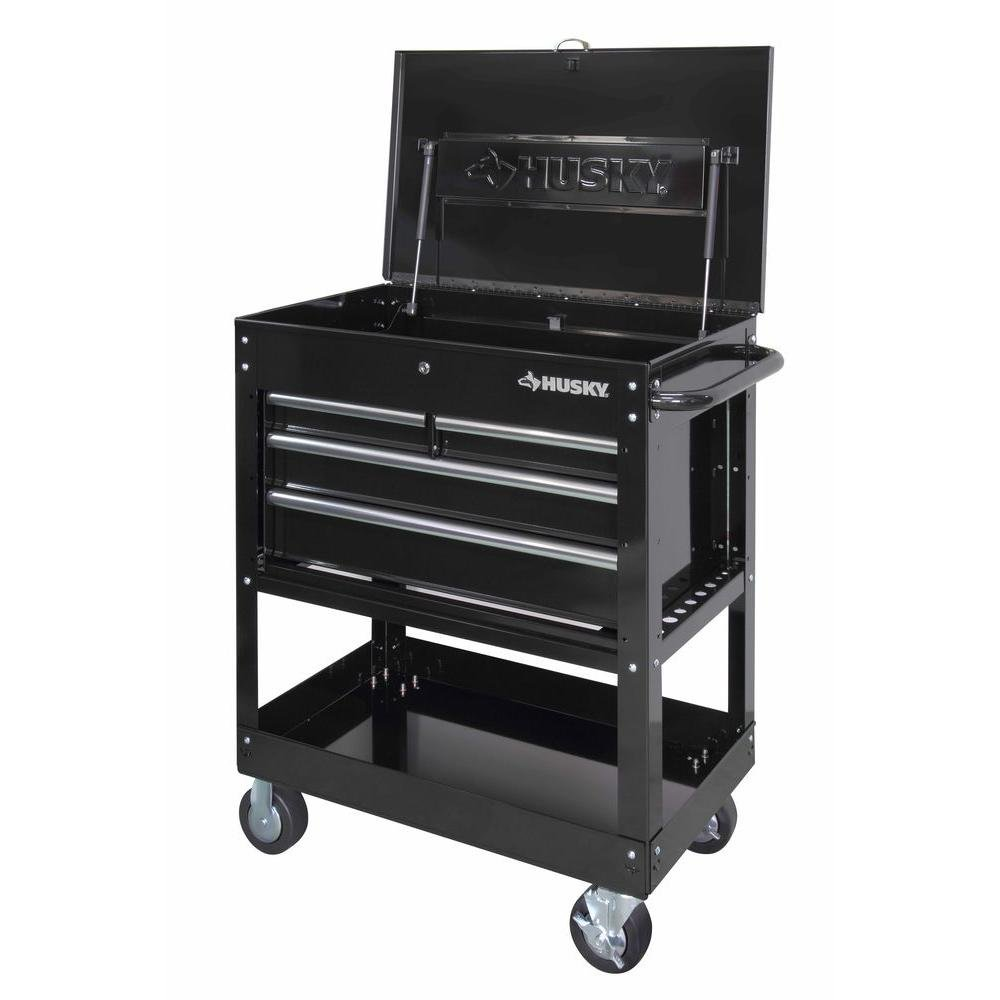 Black 4-Drawer Mechanics Tool Cart Husky HOUC3304B10 33 in