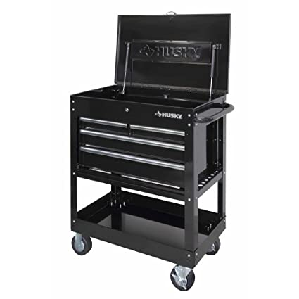 Husky Tool Cart >> 33 In 4 Drawer Mechanics Tool Cart Black