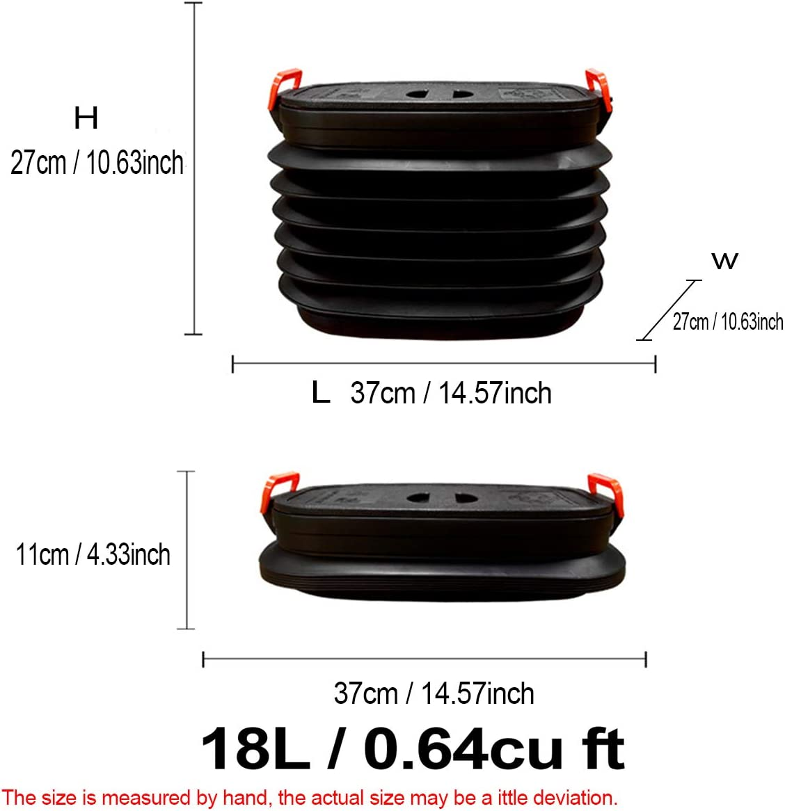 IYOYI Collapsible Bucket Car Organizer Foldable Outdoor Pail Storage Bag with Lid Handle for Fishing Camping Outdoor Traveling Hiking