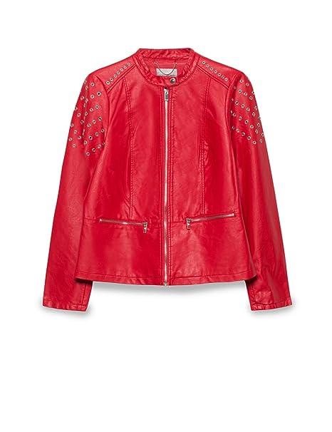 giacca Rubino in Rosso con biker borchie pelle Fiorella donna finta 7q5HPnHxw