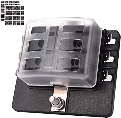 LED Illuminated Automotive Blade Fuse Holder Box 10-Circuit Fuse Block Cover