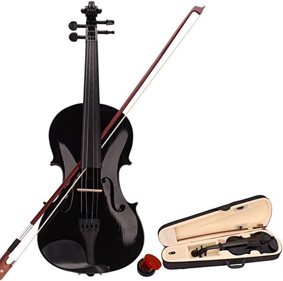 wuddi Acoustic Violin Fiddle 4/4 Full Size with Bow Case Rosin for Beginner Adult Boys Girls Children (Black)