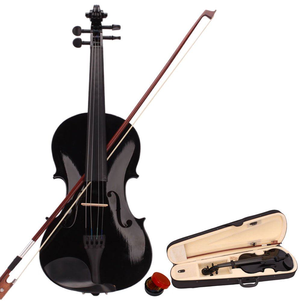 Tenozek 4/4 Full Size Violin,Natural Solid Wood Satin Acoustic Starter Kit with Case, Bow, Rosin, Shoulder Rest, Bridge(4/4, Black)