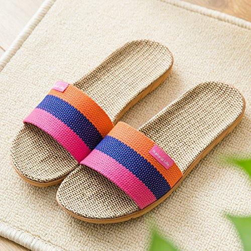 floor girls stay Seasons Purple cool non slippers slippers fankou summer slippers and breathable linen with a couple Four cool home slip men's 38 qwT50X