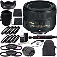 Nikon?AF-S NIKKOR 50mm f/1.8G Lens + 58mm 3 Piece Filter Set (UV, CPL, FL) + 58mm +1 +2 +4 +10 Close-Up Macro Filter Set with Pouch + Lens Cap + Lens Hood + Lens Cleaning Pen Bundle
