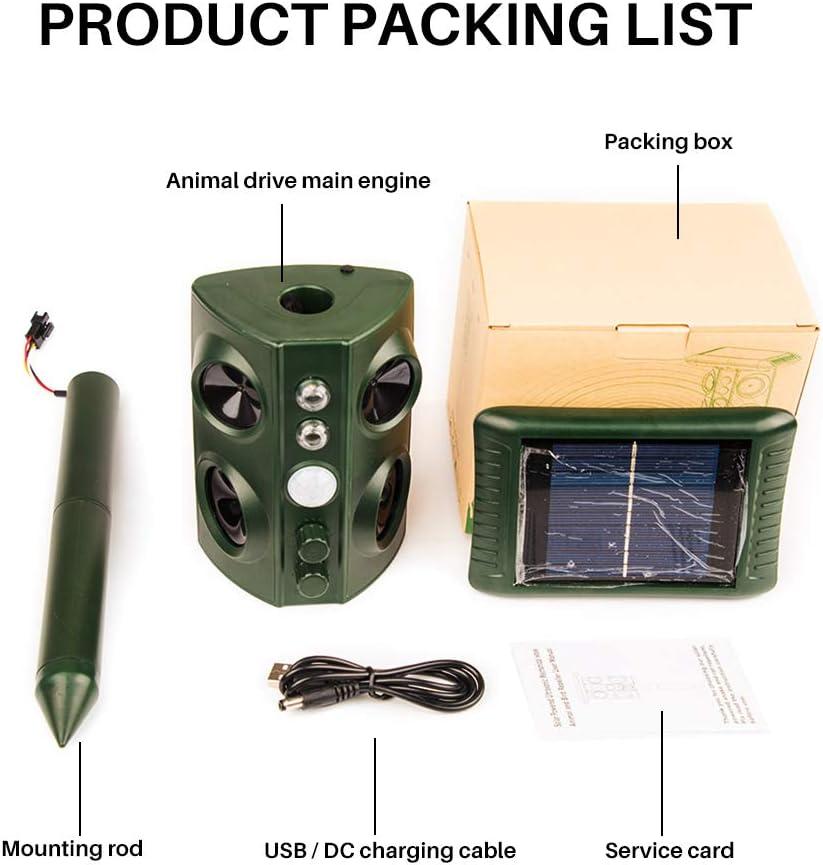 Solar Waterproof Ultrasonic Repellent Kooshy Ultrasonic Animal Repeller Solar Animal Repellent for Cats Dogs Deer Mice Repellent