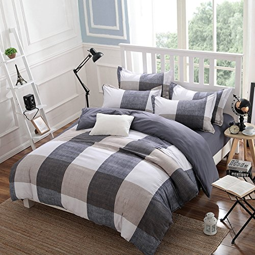 Read About Belles Maison Checkered Gray and white Duvet cover,Full Queen Size