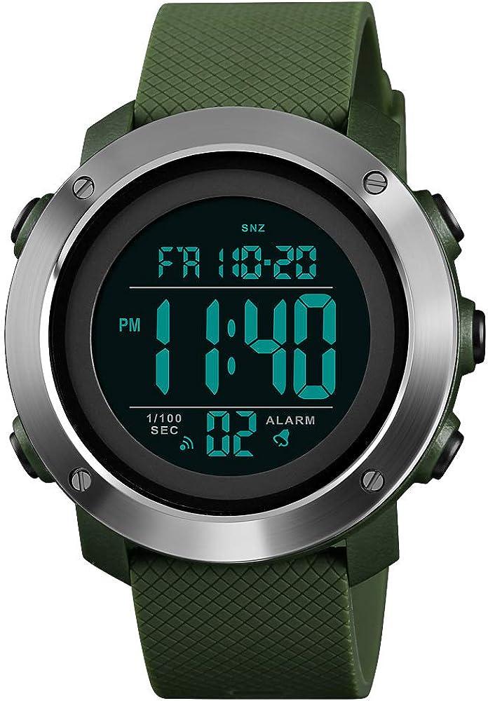 Mens Sport Watch Digital Black Face Alarm Stopwatch Electronic Quartz Watch