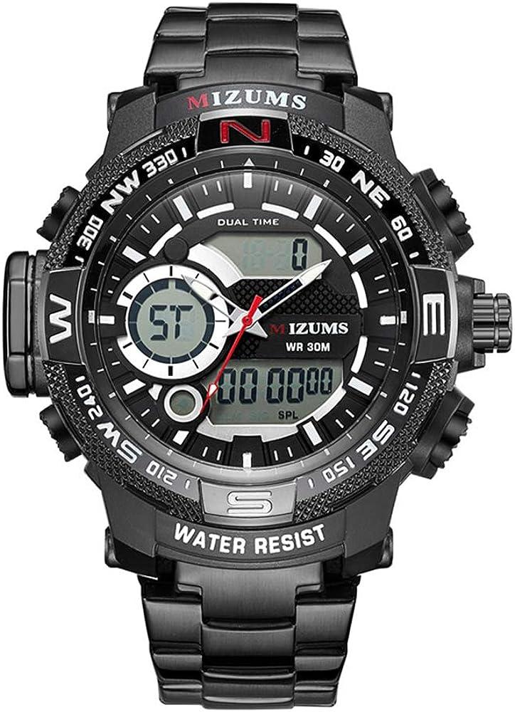 Reloj electrónico Reloj electrónico de Doble Movimiento Reloj de Acero con Banda de Acero Reloj Deportivo de Cuarzo Resistente al Agua Reloj Masculino Hombre