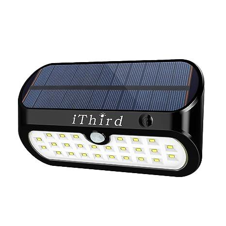 Luces solares, luces de sensor de movimiento solar al aire libre iThird 26 LED Luces