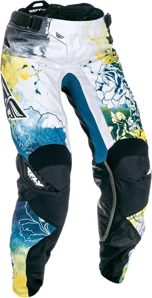 Fly Racing Unisex-Adult Kinetic Women's Race Pants Teal/Yellow Size 13/Size 14