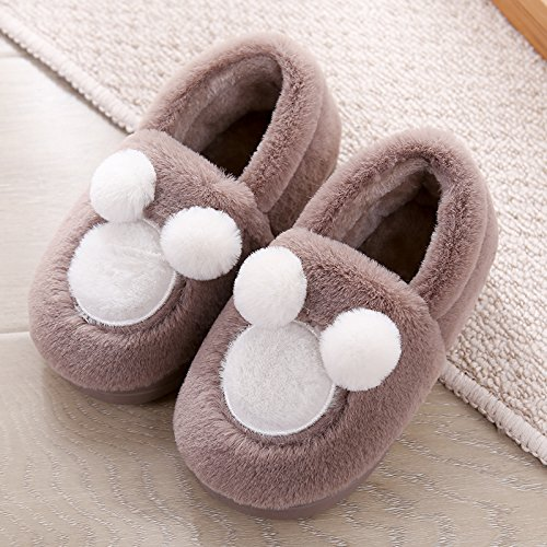 Y-Hui amantes de invierno zapatillas de algodón bolso con vello femenino Bola inferior suave, a prueba de deslizamiento inferior grueso Invierno Hombre Interior Inicio Baby coffee