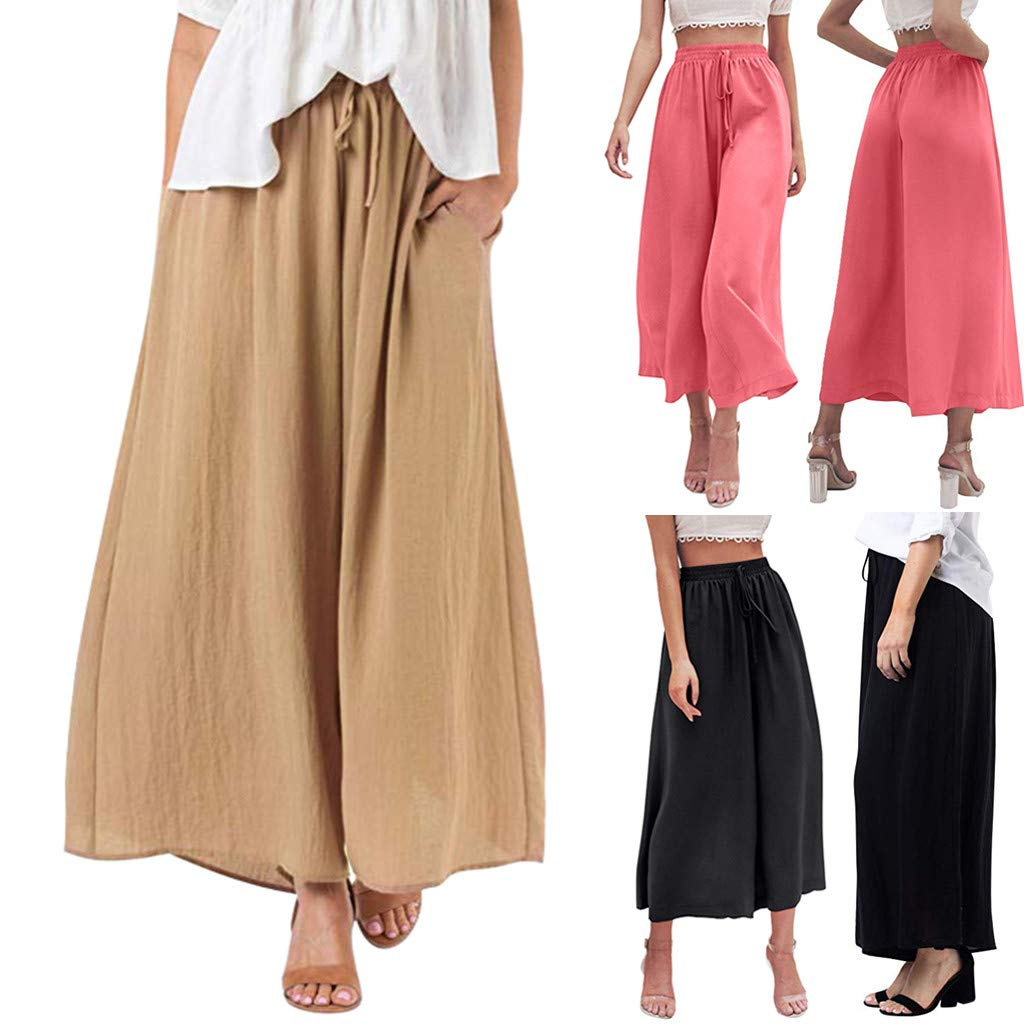 Kaicran Womens Elastic Waist Pants Ladies Summer Solid Color Casual Loose Lace Up Wide Leg Pants with Pockets